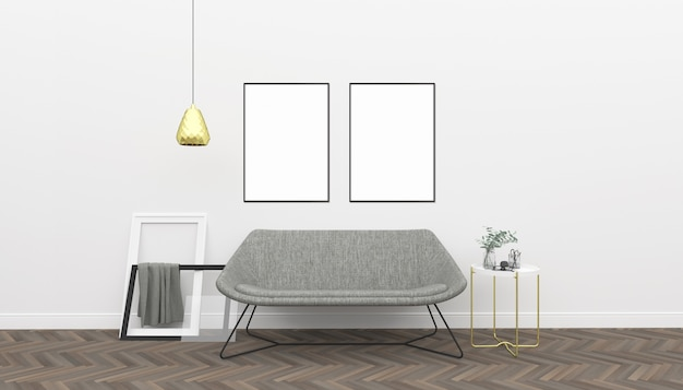 White interior - double frames mockup Photo | Premium Download