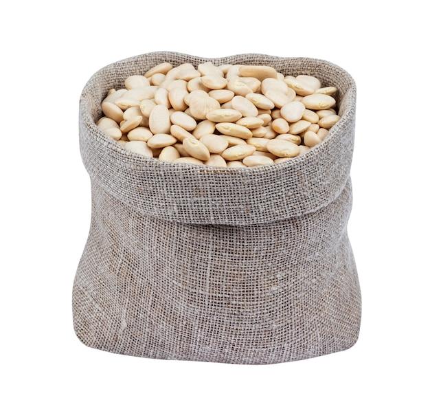 Premium Photo White Kidney Beans In Bag Isolated On White