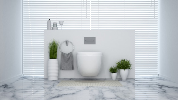 White lavatory in house or hotel - 3d rendering Premium Photo