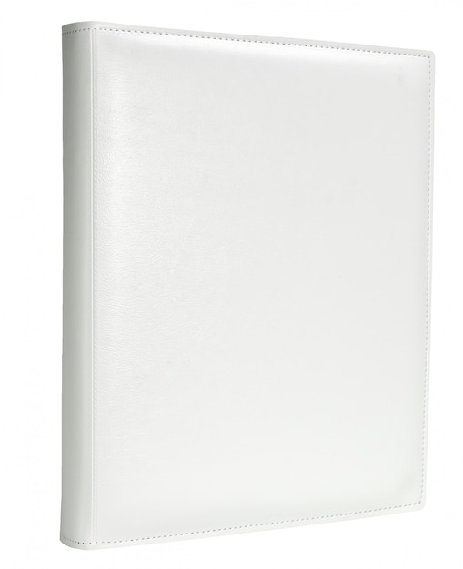 White leather photo album cover isolated white background Premium Photo