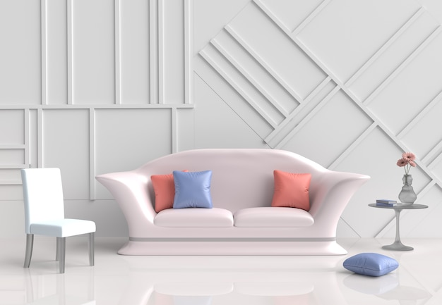 White living room decor with pink sofa, flower, pillows, chair, wall it is pattern. 3d ren Premium Photo