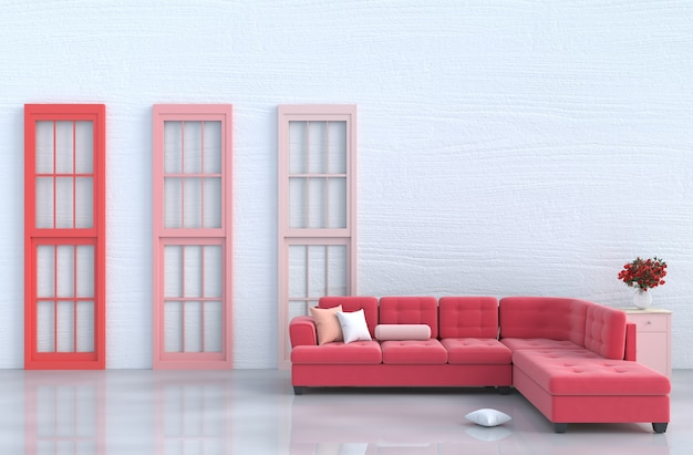 White Living Room Decor With Red Sofa Red And Pink Window Red Rose