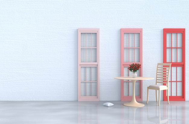 White Living Room Decor With Wood Chair Red And Pink Window