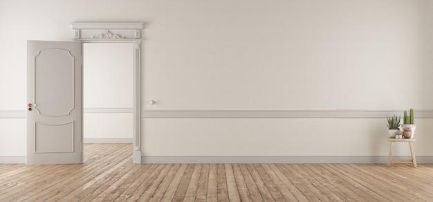 Белая гостиная в классическом стиле с открытой дверью Premium Фотографии