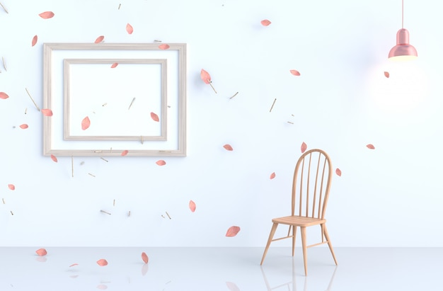 White living room with picture frame, blow pink leaves, branch,chair, lamp. 3d render. for valentine. Premium Photo