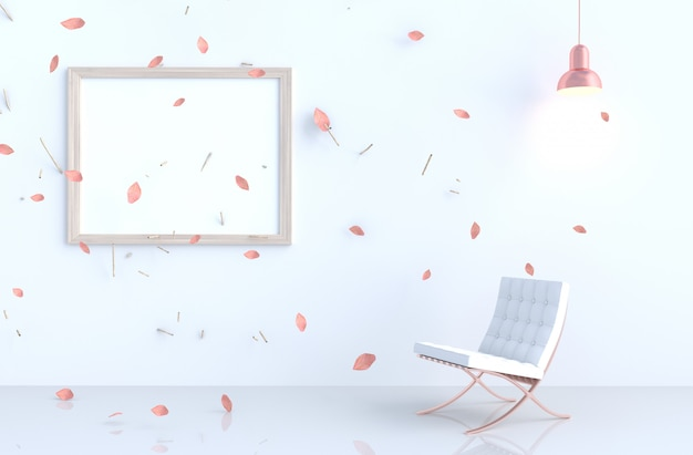 White living room with picture frame, blow pink leaves Premium Photo
