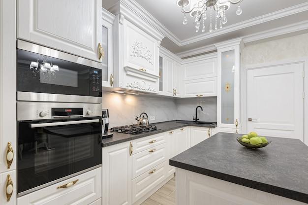White Luxury Modern Kitchen With Island Premium Photo