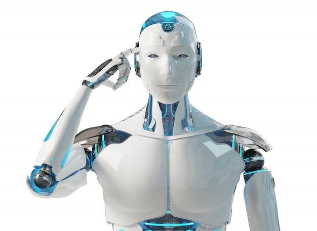 White male cyborg thinking and touching his head Premium Photo
