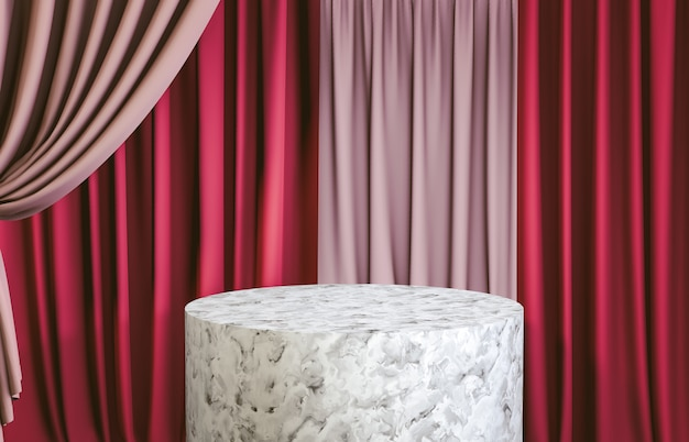 White marble cylinder podium with red curtain for product display. 3d render. luxury scene. Premium Photo