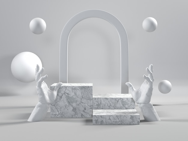 White marble podium luxury scene for cosmetic or another product. Premium Photo