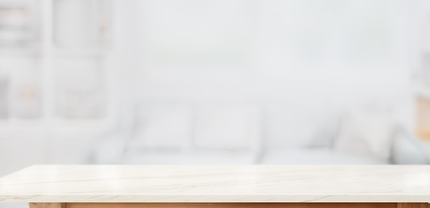 White marble table top for product display montage in living room Premium Photo