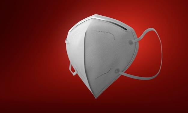 グラデーションの赤い背景にフィルターと白い医療マスク 無料写真