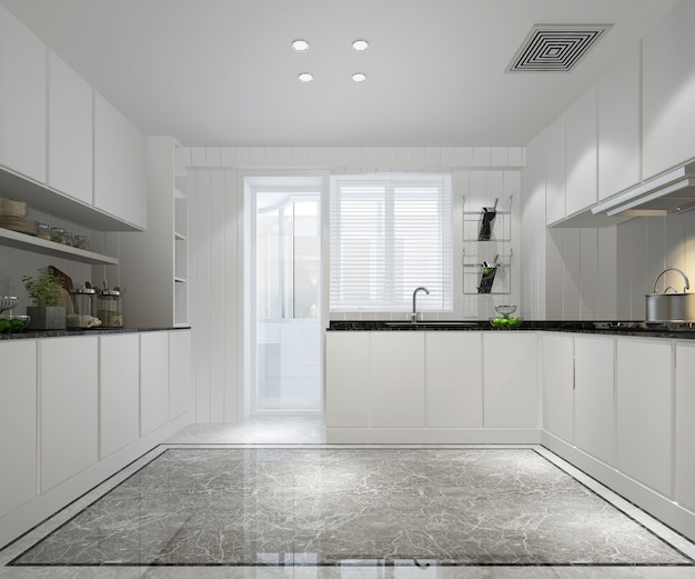 Premium Photo White Minimal Kitchen With Modern Decor Style