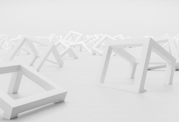 Белый современный фон с геометрическими фигурами крупным планом Premium Фотографии