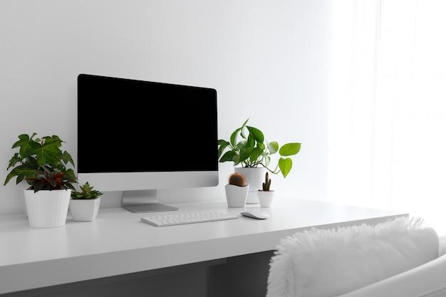 White modern desktop Premium Photo