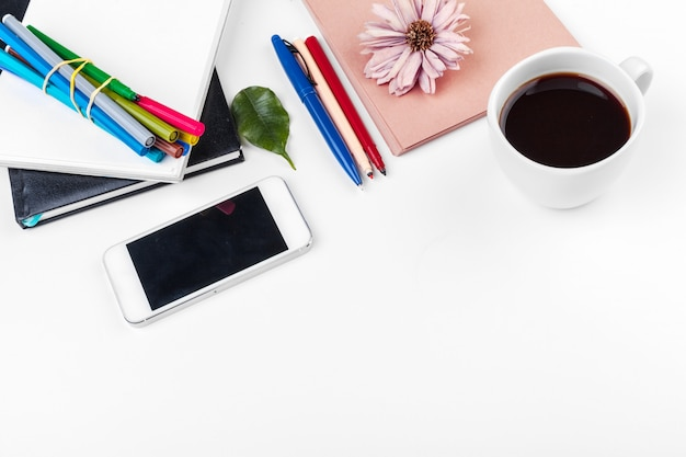 White office desk table, business and education concept Premium Photo