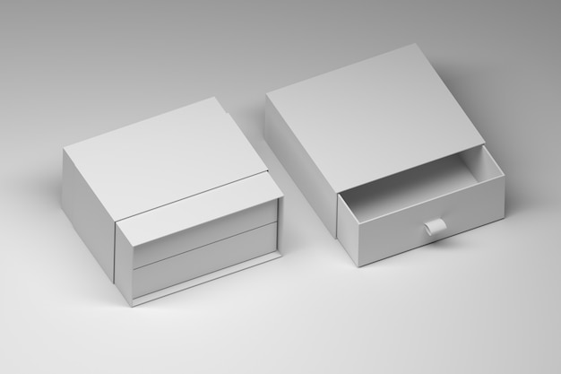 White opened gift box template on white surface Premium Photo
