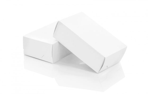 White paper boxes for products design mock-up Premium Photo