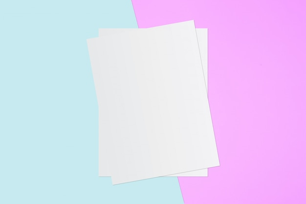 White paper and space for text on pastel color background Premium Photo