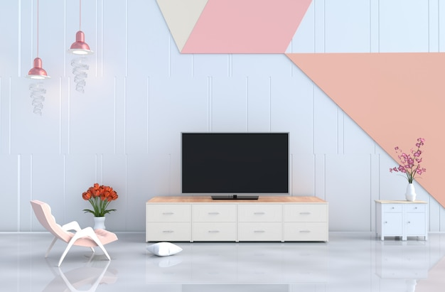 White Pastel Living Room, Tv, Armchair, Wall, Orchid, Tulip ...