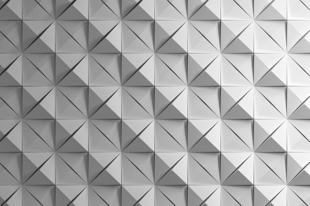 White pattern with squares and pyramids with deep cuts Premium Photo