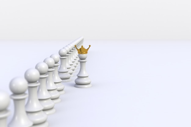 White pawn of chess standing out from the crowd on white Premium Photo