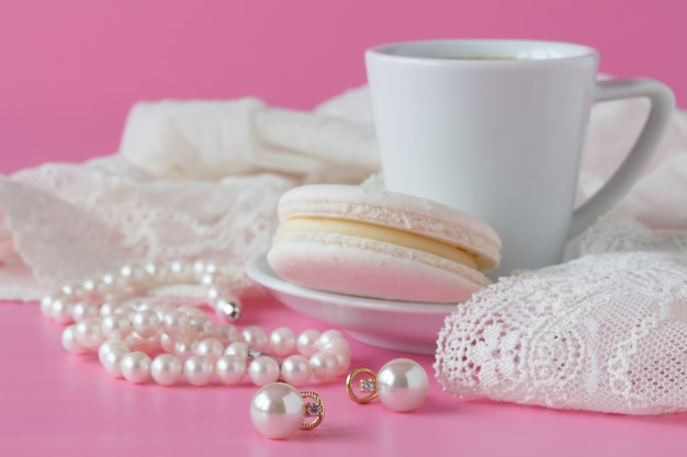 White pearls necklace on toilette table. selective focus. Premium Photo