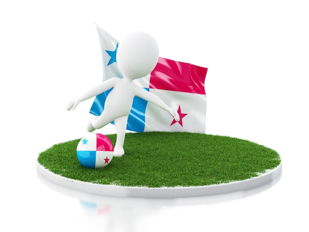 White people with panama flag and soccer ball on grass Premium Photo