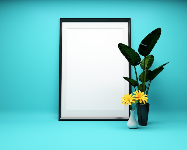 White picture frame on mint background with plant mock up. 3d rendering Premium Photo