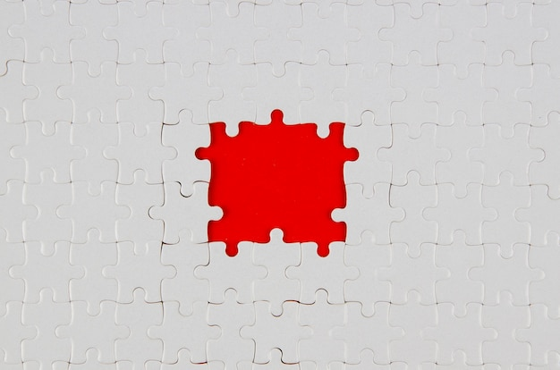 White pieces of puzzle idea concept flat lay Free Photo