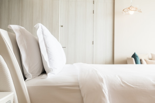 White pillows stacked Free Photo