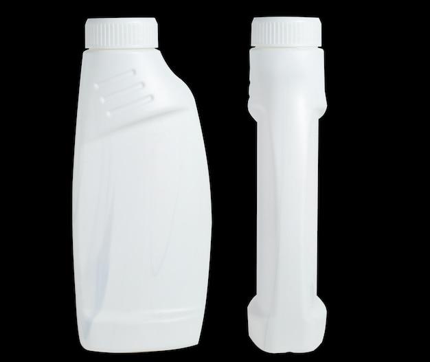 Белая пластиковая бутылка для удаления пятен. моющая упаковка. спереди, вид сбоку. Premium Фотографии