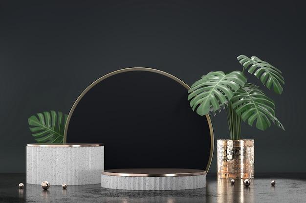 검은 배경 3d 렌더링에 Monstera 냄비 장식 제품 디스플레이 쇼케이스 흰색 연단 프리미엄 사진