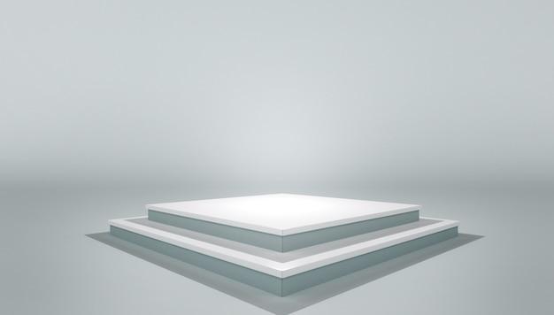 white podium pedestal platform mock up of blank template layout