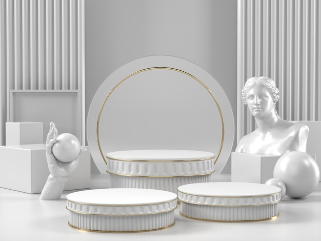White podium stand and classic roman element for beauty cosmetic or another brand. Premium Photo