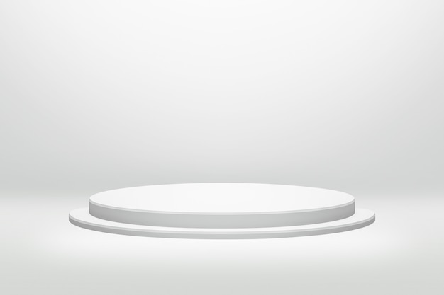 White podium stand in round shape with cylinder concept on modern room background Premium Photo