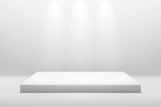 White podium stand for showing or presentation concept on modern room background with illuminate light Premium Photo