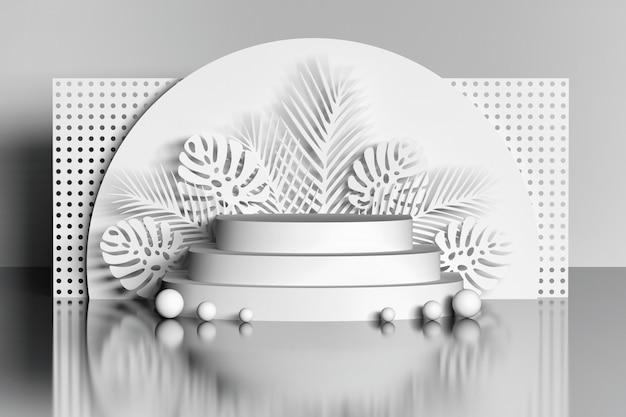 White podium with flowers and ball over mirror floor Premium Photo