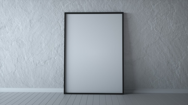 White poster on floor with blank frame