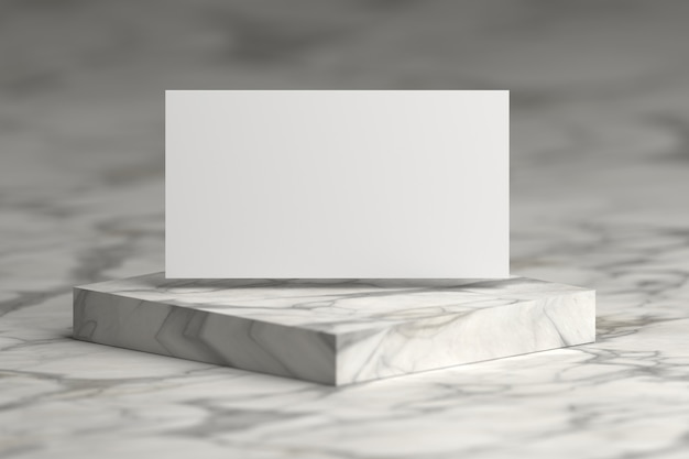 White presentation card flying over marble pedestal podium. Premium Photo