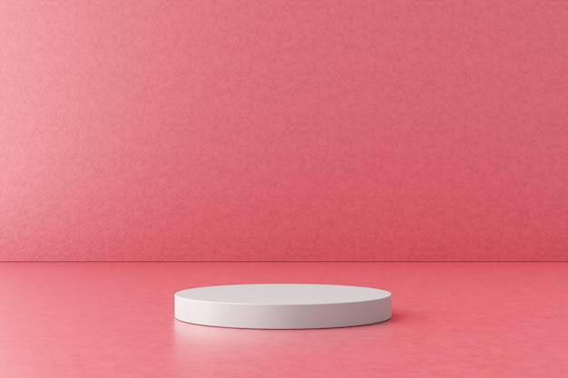ピンクの背景に白い製品のディスプレイまたは表彰台。デザインのためのモダンな台座。 3dレンダリング。 Premium写真