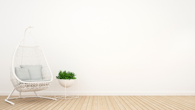 White rattan cradle and plant in relax room - 3d rendering Premium Photo