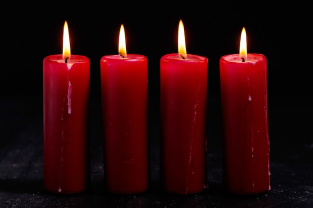 White and red candles Free Photo