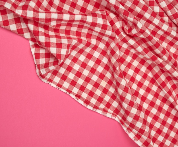 White red checkered kitchen towel Premium Photo