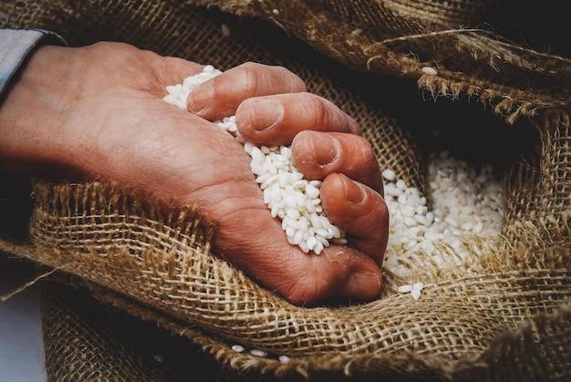 White rice in the hand in burlap sack Premium Photo