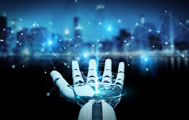 White robot hand using digital network connection 3d rendering Premium Photo