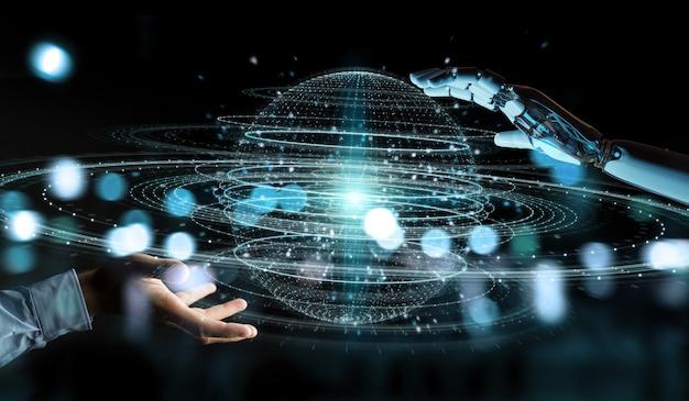 White robot hand using digital sphere connection hologram 3d