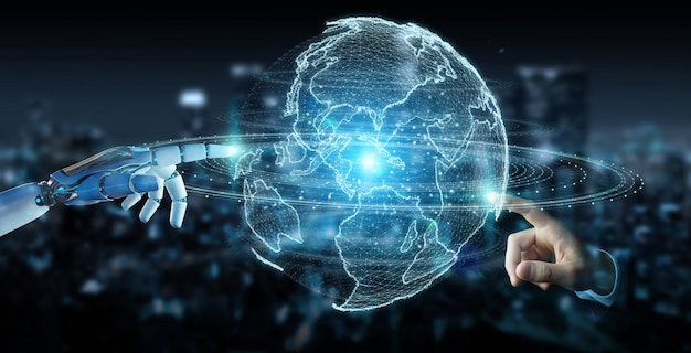 White robot hand using globe network hologram with america usa map 3d rendering Premium Photo