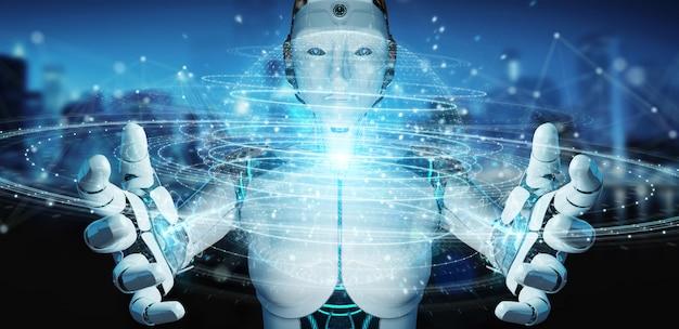 White robot woman using digital triangle exploding sphere hologram 3d rendering Premium Photo
