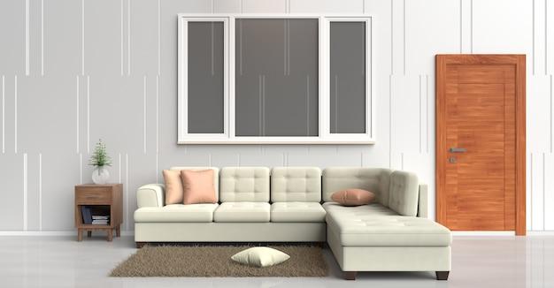 White room decor cream sofa,orange pillows,book, wood door ...
